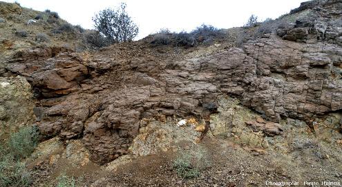 Terres d'ombre moulant des pillow lavas et s'insinuant dans les fissures et vides inter-pillows, région de Marki, ophiolite de Chypre