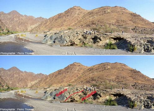 Images brute et interprétée du contact entre des gabbros (grisâtres, à gauche) et de la péridotite (brunâtre, à droite) juste sous le groupe de géologues, wadi Bani Kharus, Oman