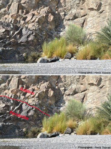 Contact entre gabbros (clairs, en haut) et péridotite (plus sombre, en bas), vues brute et interprétées, partie aval du wadi Bani Kharus, Oman