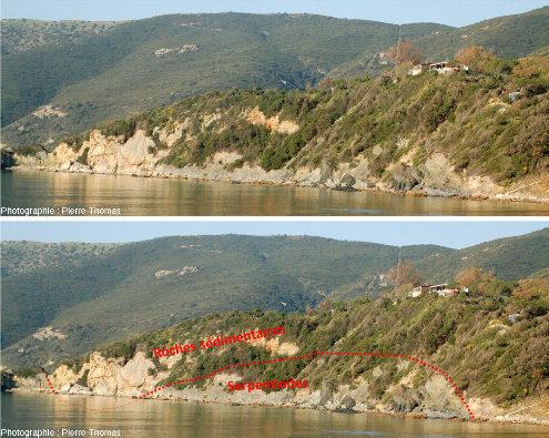 Vues brute et interprétée de la côte Sud de l'ile d'Elbe (Italie) ou des sédiments (argiles turbiditiques) recouvrent des serpentinites