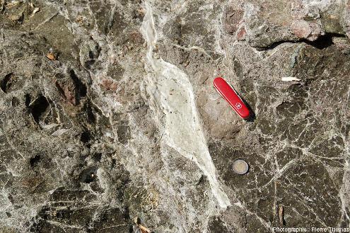 Brèche serpentineuse (ophicalcite) d'origine tectonique très probable (associée à une faille de détachement), ile d'Elbe