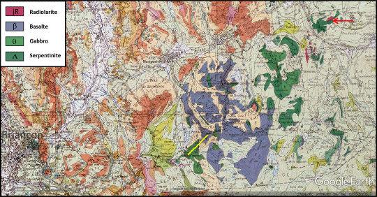 Carte géologique du massif du Chenaillet (Hautes-Alpes et Piémont)