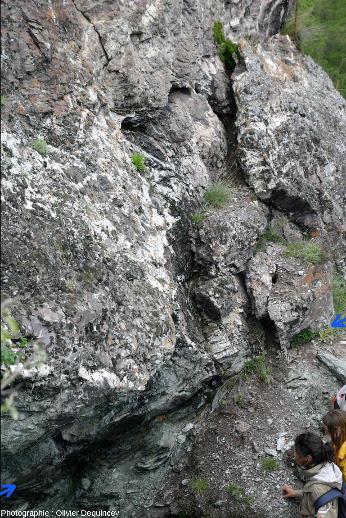 Le contact radiolarites (en haut) / serpentinites (en bas) au Monte Cruzore (massif du Chenaillet, Italie)