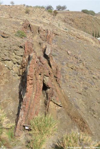 """Zoom sur des filons de basaltes, certains très altérés et d'autres pas, recoupant un ensemble """"pyroclastites + laves en coussins"""", Kalo Chorio, Chypre"""