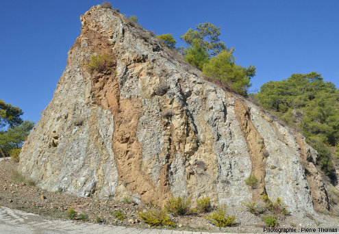 Filons de basalte (colorés en brun par l'hydrothermalisme) recoupant un cortège filonien plus ancien, au Sud d'Arakapas dans l'ophiolite de Chypre