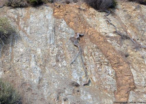 Zoom sur des filons de basalte (coloré en brun par l'hydrothermalisme) recoupant un cortège filonien plus ancien, au Sud d'Arakapas dans l'ophiolite de Chypre
