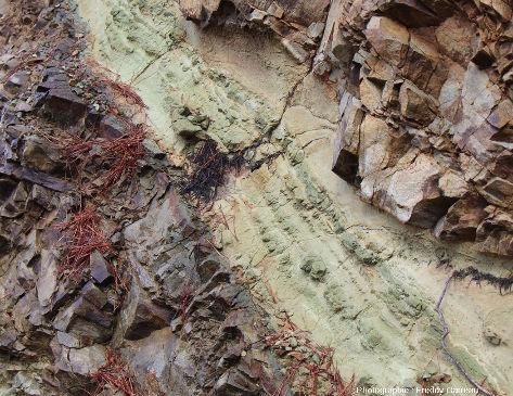 Filon verdâtre très hydrothermalisé dans une partie basculée (par de la tectonique) du cortège filonien de l'ophiolite de Chypre, près de Lemithou