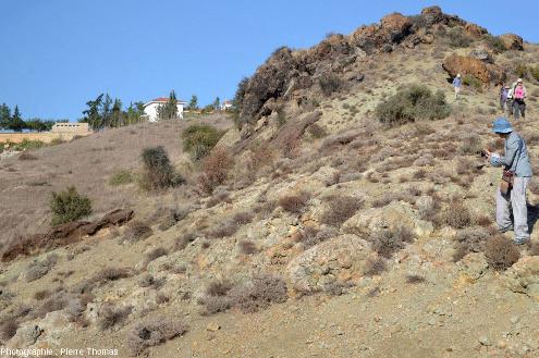 Affleurement de basaltes en coussins hydrothermalisés, ophiolite près de Kampia (Chypre)