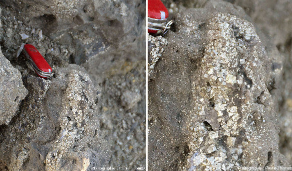 Cristallisations de pyrite (sans doute mélangé à un peu de chalcopyrite) photographiées dans des déblais d'une mine chypriote