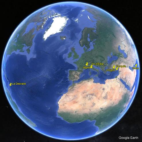 Localisation des six ophiolites visitées dans les sept articles de cette série les ophiolites en 180 photos: les Alpes, Chypre, la Désirade, l'ile d'Elbe, l'Oman et la Turquie