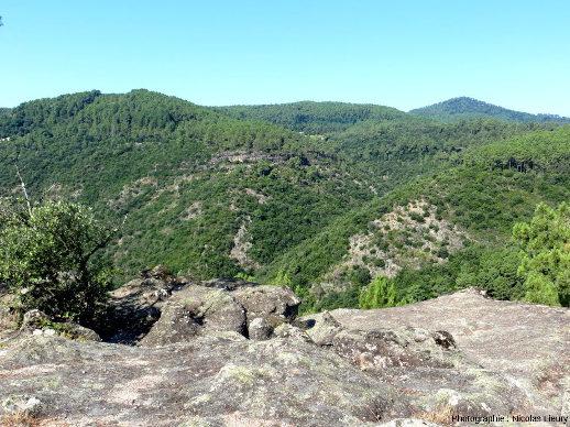 Point de vue orienté Sud-Ouest sur la vallée de la Beaume avec un plateau de grès sub-horizontal (Trias inférieur) reposant sur des schistes cristallins de la chaine hercynienne, Vernon (Ardèche)
