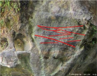 Interprétation de l'affleurement de grès triasiques sur la rive droite de la cascade du Baumicou