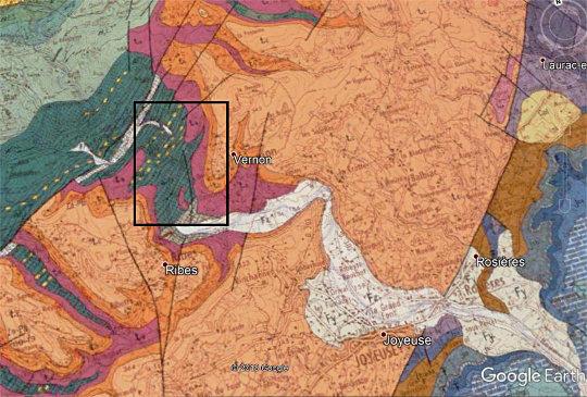 Extrait de la carte géologique de Largentière (Ardèche) au 1/50000