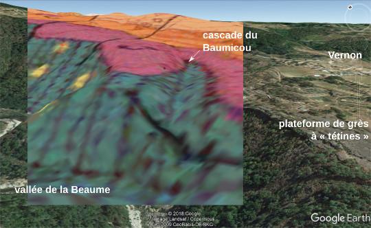 Projection sur l'image satellite en relief de la carte géologique de Largentière (Ardèche), au niveau de la vallée du Baumicou