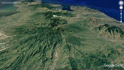 Aspect du Pinatubo (Philippines), même champ et même projection, mais datant de 1989, avant l'éruption donc