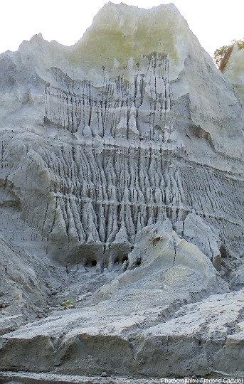 Alternances bien stratifiées entre niveaux meubles montrant des ciselures érosives et des niveaux indurés (mis en place à haute température?), gorge de la rivière O'Donnel (Philippines)