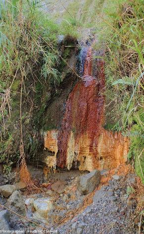 Source ferrugineuse sortant à l'intérieur de la caldeira du Pinatubo (Philippines)