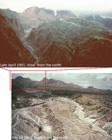 Montage photo montrant l'amont de la vallée de la rivière O'Donnell avant (avril 1991) et après (juillet 1994) l'éruption du Pinatubo de 1991