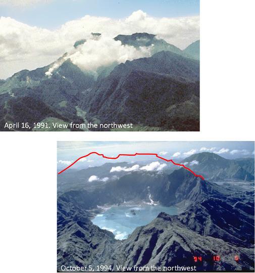 Montage photo montrant le sommet du Pinatubo vu du Nord, avant (avril 1991) et après (octobre 1994) l'éruption du Pinatubo de 1991