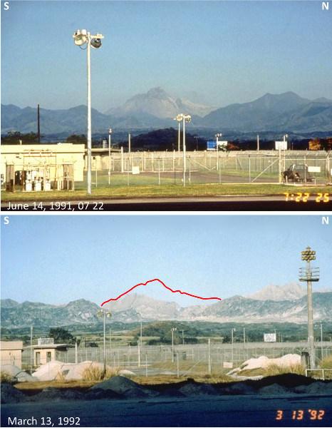 Montage photo montrant le Mont Pinatubo vu avant (14 juin 1991) et après (mars 1992) les éruptions de1991 depuis la base aérienne de Clark, située à 25km à l'Est du Pinatubo, et abandonnée après l'éruption de 1991