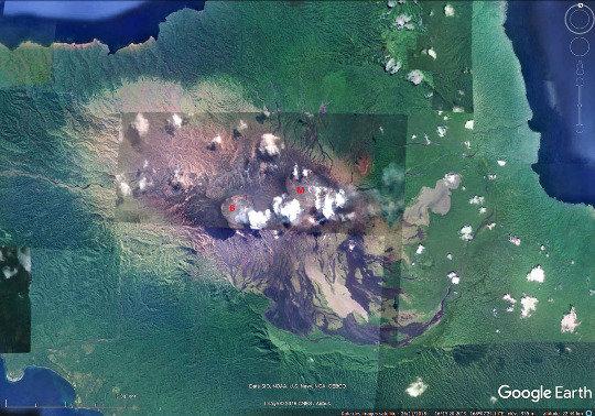 Vue satellitale de la caldeira du volcan d'Ambrym (Vanuatu), d'un diamètre de 12km et âgée de 1900 à 2000 ans
