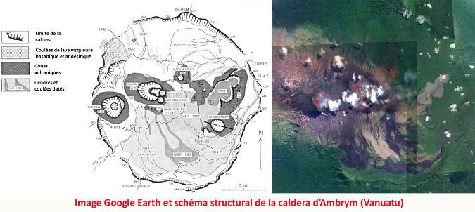 Schéma structural et image satellite (avec la même échelle et la même orientation) de la caldeira d'Ambrym (Vanuatu)