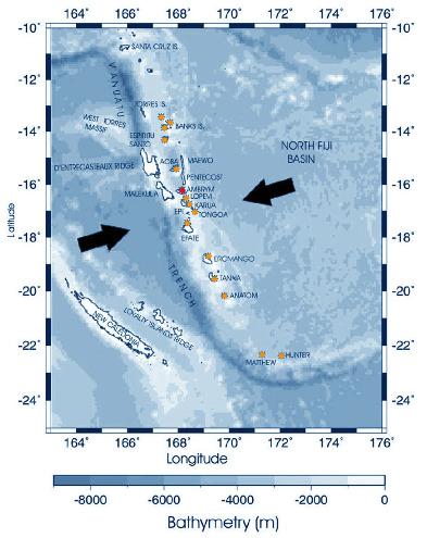 Carte bathymétrique et volcanologique du secteur de la subduction des Hébrides / Vanuatu dans le Pacifique