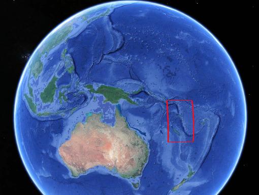 Localisation de la subduction et de l'arc insulaire des Nouvelles Hébrides / Vanuatu dans le Pacifique