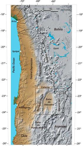 Topographie du Nord Chili