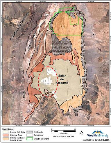 Carte géologique du sous-sol du salar d'Atacama