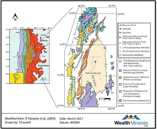 Position du salar d'Atacama dans les unités géologiques et structurales de la Cordillère des Andes
