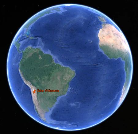 Localisation du salar d'Atacama en Amérique du Sud