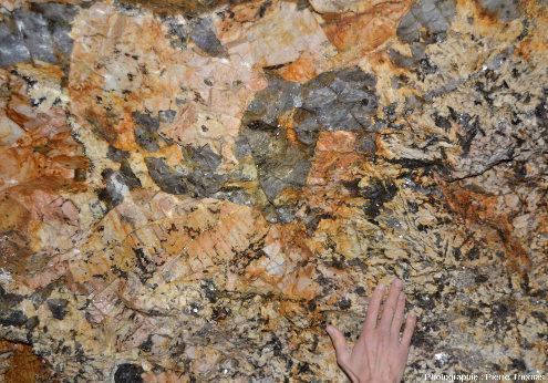"""Paroi de galerie montrant la coexistence de pegmatites à cristaux de """"grande"""" taille (en haut à gauche) et de """"petite"""" taille (en bas à droite)"""