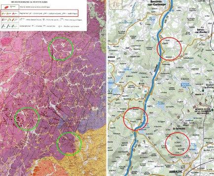 Extraits de la carte géologique d'Ambazac, de sa légende, et de la carte IGN couvant la même zone localisant approximativement les zones où ont été prises les photos et ramassés les échantillons présentés (ellipses)