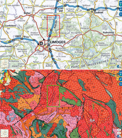 Cartes topographique et géologique localisant le secteur riche en pegmatites correspondant à la figure précédente (rectangles)