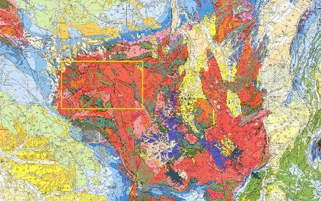 Localisation des deux secteurs détaillés sur les deux figures précédente sur la carte géologique du Massif Central