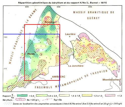 Carte géochimique (extraite de la carte géologique Ambazac) montrant (1) le rapport K/Na des granites, (2) la teneur en béryllium de ces mêmes granites, et (3) la localisation des pegmatites à béryl