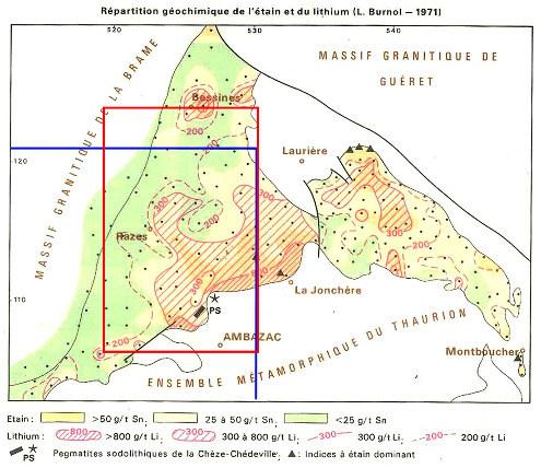 Carte de la répartition du lithium dans le granite de Saint-Sylvestre