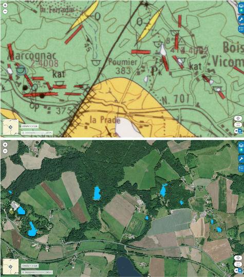 Comparaison entre carte géologique et vue aérienne des environs de Marcognac (Haute-Vienne)