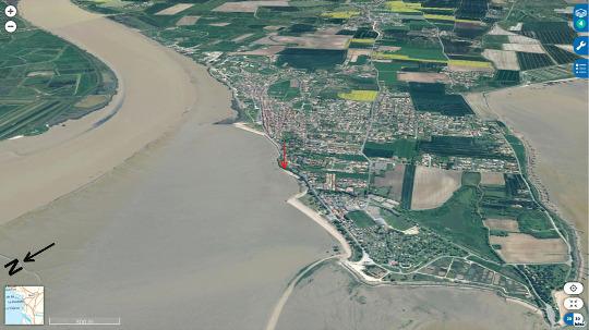 Localisation de la falaise de Port des Barques (flèche rouge), sur la rive Sud de l'estuaire de la Charente qui coule à gauche de cette vue