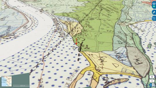 Carte géologique de la falaise de Port des Barques (flèche rouge), sur la rive Sud de l'estuaire de la Charente