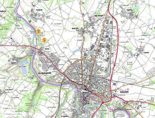 Localisation sur fond topographique des deux carrières classées Réserves naturelles nationales (RNN91) pour le Toarcien de Sainte Verge