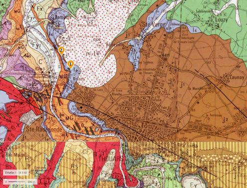Localisation sur fond géologique des deux carrières classées Réserves naturelles nationales (RNN91) pour le Toarcien de Sainte Verge