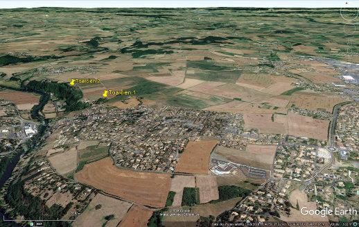 Vue aérienne oblique du secteur des deux carrières de Toarcien