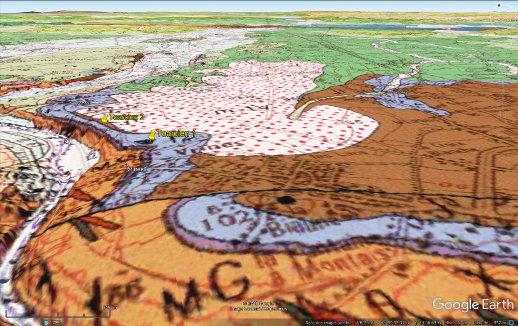 Carte géologique en vue oblique du secteur des deux carrières de Toarcien