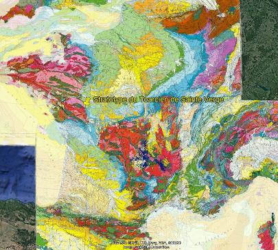 Localisation de la commune de Sainte Verge et du stratotype du Toarcien au Sud-Ouest du Bassin Parisien