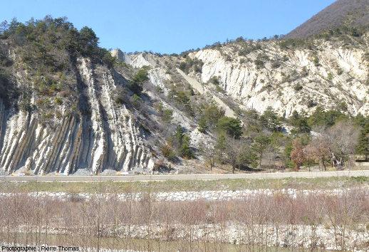 Contraste entre une zone où les alternances marno-calcaires sont régulières et particulièrement visibles (à gauche) et une zone où elles sont moins visibles et moins régulières (à droite), La Charce (Drôme)