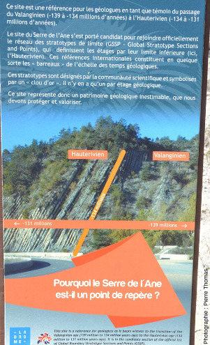 Panneau installé juste devant la limite Hauterivien / Valanginien, qui a valeur ici de GSSP