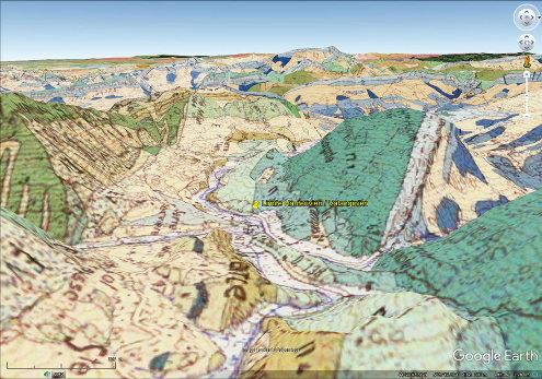 Vue 3D sur fond de carte géologique (avec la même échelle et la même orientation que la figure précédente) localisant la coupe de La Charce, à la limite Valanginien / Hauterivien