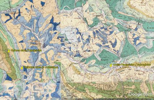 Montage de quatre cartes géologiques localisant les trois sites étudiés